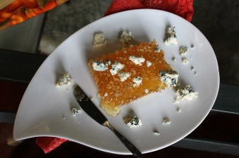 Honeycomb and blue cheese appetizer